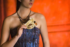 De jonge vrouw van de Tiener bij de Bal van de Maskerade royalty-vrije stock foto