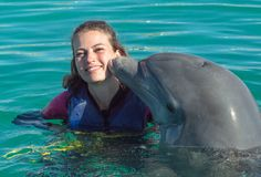 De jonge vrouw van de dolfijnkus in blauw water Glimlachende vrouw die met dolfijn zwemmen De blauwe Abstracte Achtergrond van he stock fotografie