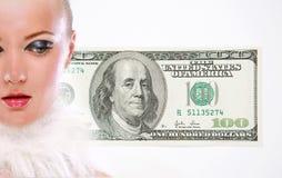 De jonge vrouw van het portret met geld Stock Afbeelding