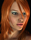 De jonge vrouw van het portret met rood haar Stock Foto's