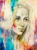 De Jonge vrouw van het tekeningsportret met ornament op gezicht, kleur het schilderen op abstracte achtergrond, computercollage stock illustratie