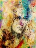 De Jonge vrouw van het tekeningsportret met ornament op gezicht, kleur het schilderen op abstracte achtergrond, computercollage vector illustratie