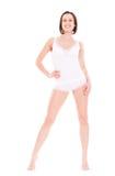 De jonge vrouw van Smiley in wit ondergoed Stock Fotografie