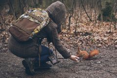 De jonge vrouw voedt eekhoorn in de herfstbos Royalty-vrije Stock Foto
