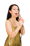 De jonge vrouw zingt Royalty-vrije Stock Fotografie