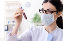 De jonge vrouwelijke chemicus die in het laboratorium werken royalty-vrije stock afbeeldingen