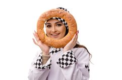 De jonge vrouwelijke die bakker op wit wordt geïsoleerd stock afbeelding