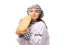 De jonge vrouwelijke die bakker op wit wordt geïsoleerd royalty-vrije stock foto's