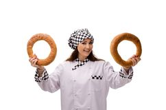 De jonge vrouwelijke die bakker op wit wordt geïsoleerd royalty-vrije stock afbeelding