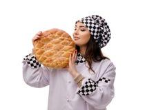 De jonge vrouwelijke die bakker op wit wordt geïsoleerd stock fotografie