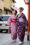 De jonge vrouwen in kimono kleden zich Stock Fotografie