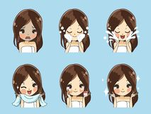 De jonge vrouwen krijgen bevrijd saai gezicht vector illustratie