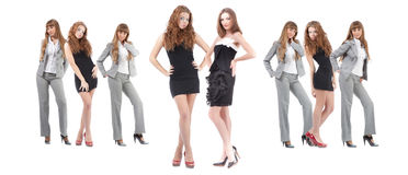 De jonge vrouwen van de groep over wit Royalty-vrije Stock Foto