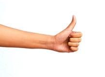 De hand toont het grote symbool Stock Foto