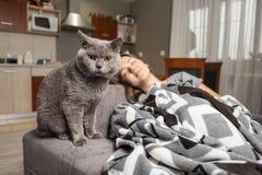 De jonge vrouwenslaap met haar kat, kat wacht wanneer het meisjeskielzog omhoog, kat dichtbij slaapmeisje zit royalty-vrije stock foto's