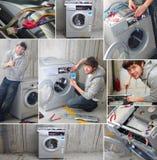De jonge wasmachine van de loodgietermoeilijke situatie Royalty-vrije Stock Fotografie
