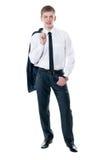 De jonge zakenman in een kostuum Stock Afbeeldingen