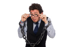 De jonge zakenman in grappig concept op wit Royalty-vrije Stock Foto