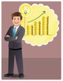 De jonge zakenman heeft voordelig idee Stock Foto