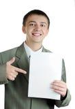 De jonge zakenman houdt lege tekens Stock Afbeeldingen