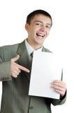 De jonge zakenman houdt lege tekens stock foto
