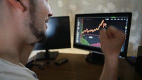 De jonge zakenman jubelt het bekijken de schaal van hun inkomens bij monitor stock video