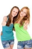 De jonge zusters tonen teken o.k. Stock Fotografie
