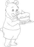 De jongelui draagt houdend een Cake Kleurende Pagina Stock Foto
