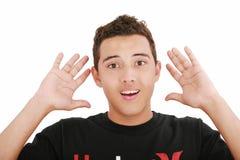 De jongelui verbaasde en verraste de mens Stock Foto