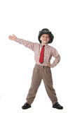 De jongen in band en van een cowboy hoed stock afbeelding