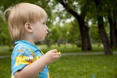 De jongen blaast zeepbels Stock Afbeelding