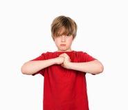 De jongen is boos Royalty-vrije Stock Fotografie