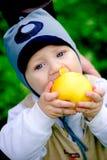 De jongen die van de baby grote appel eet Stock Foto