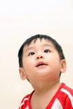 De jongen die van de baby omhoog kijkt stock afbeeldingen