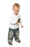 De jongen die van de baby op de telefoon spreekt Stock Fotografie