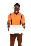 De jongen die van de pizza een orde levert Stock Afbeelding