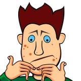 De jongen die van de tiener met acne worstelt Stock Afbeelding