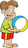 De jongen die van het beeldverhaal een strandbal houden Stock Afbeeldingen