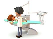 De jongen die van het beeldverhaal een tandexamen krijgt. Stock Afbeelding