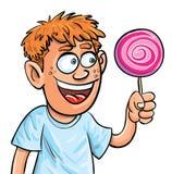 De jongen die van het beeldverhaal lollypop eet. Geïsoleerdl Stock Afbeeldingen