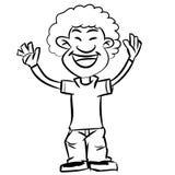 De jongen die van het beeldverhaalafro van de lijntekening - Vectorillustratie glimlachen Royalty-vrije Stock Foto