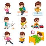 De jongen doet Geplaatste de Illustraties van Dagelijks werkacties royalty-vrije illustratie
