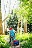de jongen drijft een rode wagen langs de weg in het bos royalty-vrije stock foto