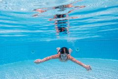 De jongen duikt in zwembad stock foto