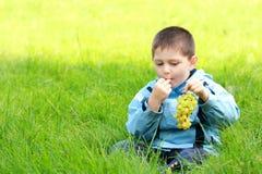 De jongen eet druiven in weide Royalty-vrije Stock Foto's