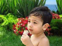 De jongen eet roomijs in een tuin met een mening van een overzees Royalty-vrije Stock Foto's