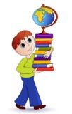 De jongen en de boeken. Royalty-vrije Stock Foto's