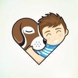 De jongen en de hond omhelzen liefde Stock Foto's