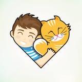 De jongen en de kat omhelzen liefde Stock Foto