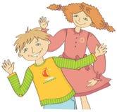De jongen en het meisje begroeten golvende hand royalty-vrije stock foto's